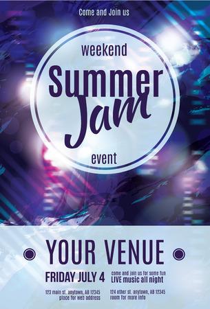 Glanzend grunge zomer jam flyer sjabloon ontwerp Stock Illustratie