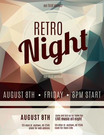 techno: Retro style night club flyer template