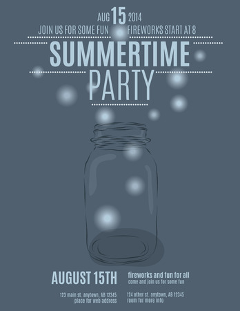 hand drawn mason jar background flyer template for a summer party vector Stok Fotoğraf - 35653203
