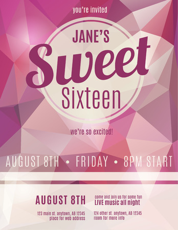 Sweet sixteen party invitation flyer template design