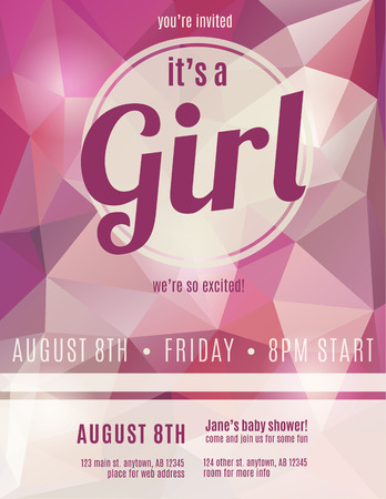Its a girl birth announcement flyer design template for baby shower