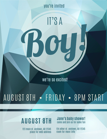 baby shower party: Its a boy birth announcement flyer design template for baby shower