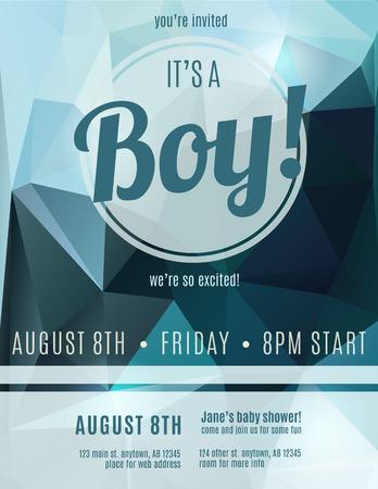 Zijn een jongen geboortekaartje flyer design template voor baby shower