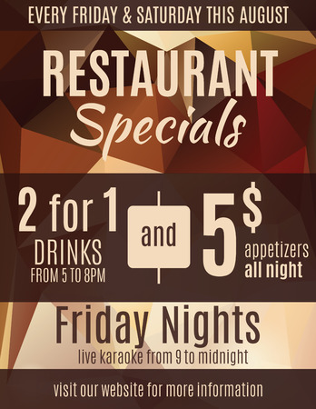 Fun restaurant flyer advertisement design template with coupons Illustration