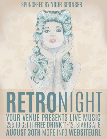Retro night invitation flyer with rockabilly girl Stock Illustratie