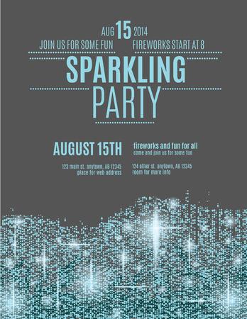 Retro stijl sprankelende glitter uitnodiging flyer sjabloon