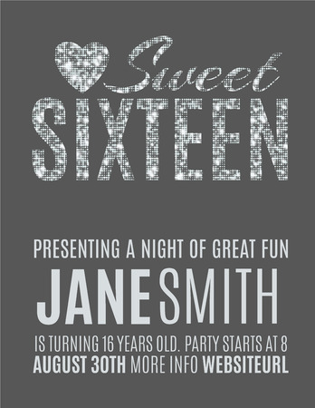 Sweet sixteen glitter party invitation flyer template design