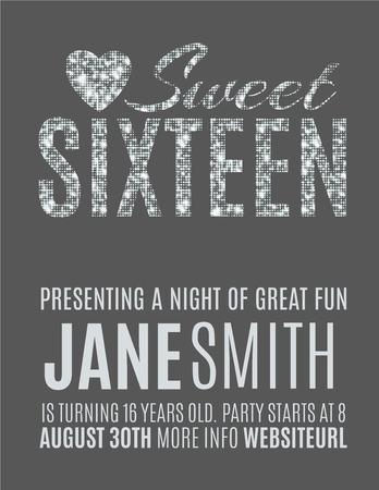 Zoete zestien glitter partij uitnodiging flyer template ontwerp Stock Illustratie
