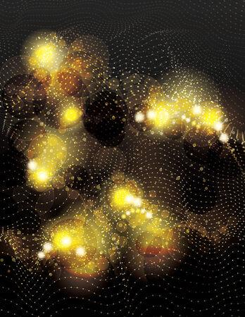 Mooie abstracte ruimte vector achtergrond met gloeiende gouden glitter lichteffecten