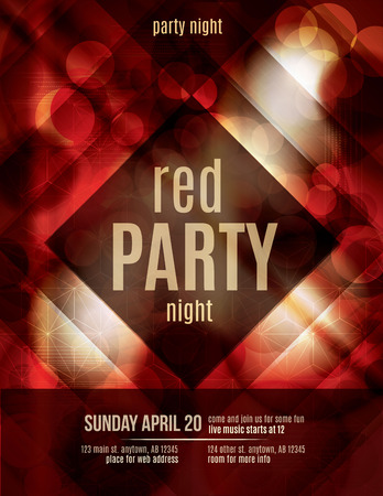 club dj: Red Light Effect party invitation flyer template Illustration