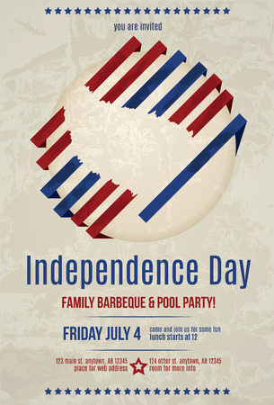 Grunge modern vector 4th of July barbeque invitation flyer template