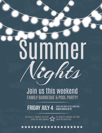 エレガントな夏の夜パーティー招待チラシ テンプレート