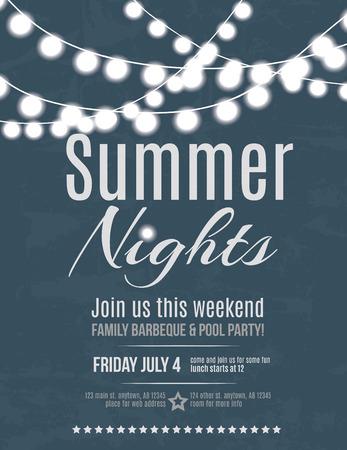 de zomer: Elegant zomer uitnodiging night party flyer template Stock Illustratie