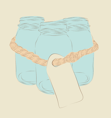 Set of three hand drawn mason jars tied together with a note