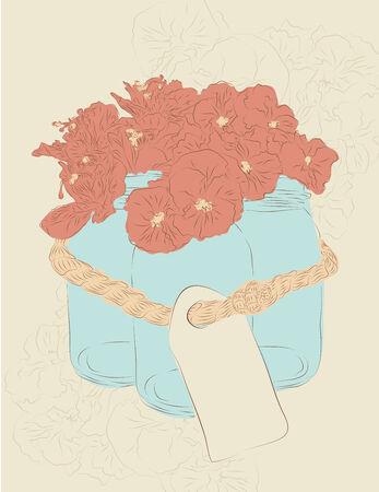 mason: Set of three hand drawn mason jars tied together with flowers