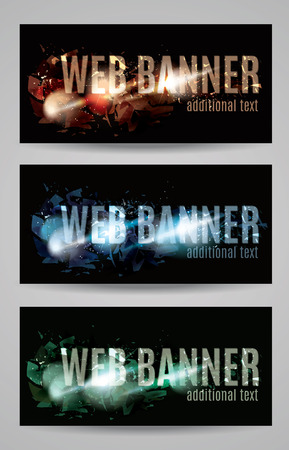 shattered: Web banner with shattered effect collection Illustration