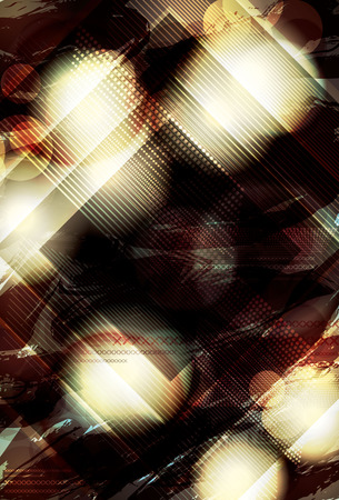 club dj: Blurry abstract light effect background with diamond shape overlay Illustration