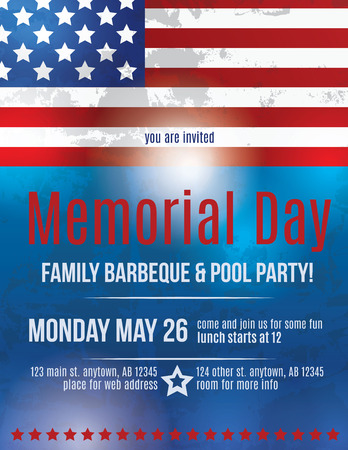 Memorial Day Barbeque Flyer background Template with American Flag Vectores