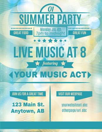 Summer party live music flyer template Vettoriali