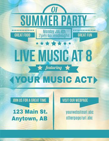 Summer party flyer template de la musique live Banque d'images - 36210688