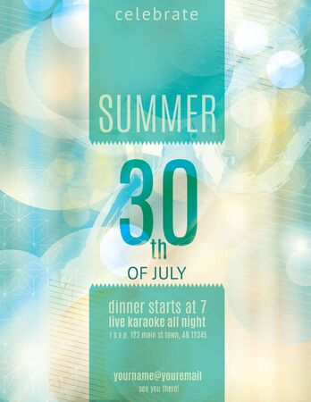 Elegant summer party invitation flyer template Vector