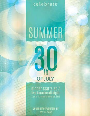 summer holiday: Elegant summer party invitation flyer template