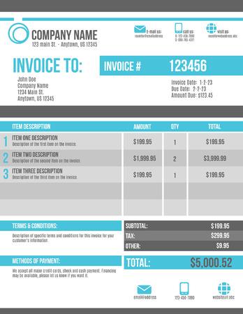 Customizable Invoice template design