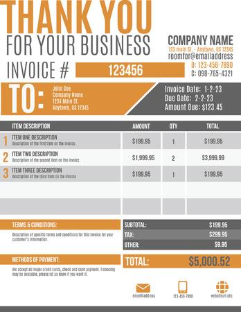 Fun and modern customizable Invoice template design Stock Illustratie