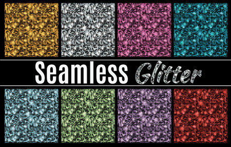Collection of vector glitter seamless patterns