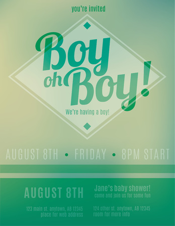 Blurry green birth announcement flyer invitation template design for Its A Boy.
