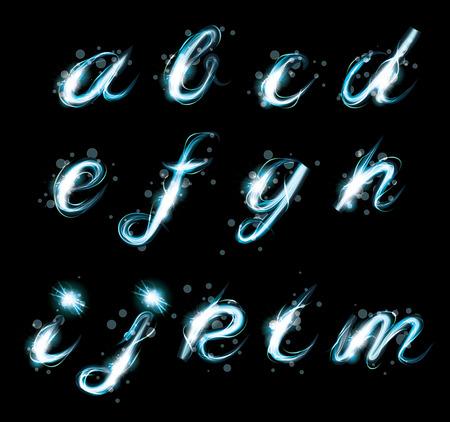 Transparante schitteren Alphabet Vector. Gloeiende ijs blauw licht effect schitteren tekst. Letters van het alfabet met een licht schrijven effect.