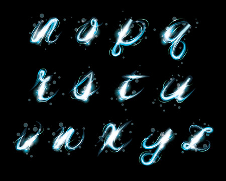 light effect: Transparent sparkle Alphabet Vector.  Glowing ice blue light effect glitter text. Letters of the alphabet with a light writing effect.