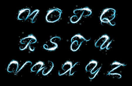 ice alphabet: Transparent sparkle Alphabet Vector.  Glowing ice blue light effect glitter text. Letters of the alphabet with a light writing effect.