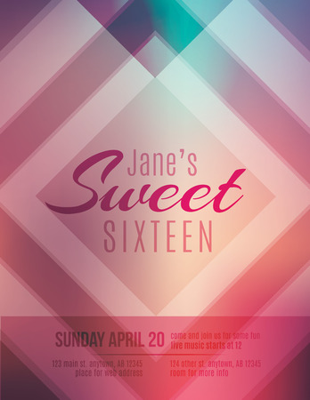 sixteen: Modern and classy Sweet Sixteen birthday party invitation template