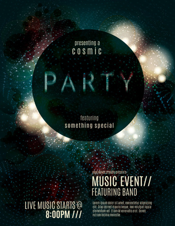 Dark eclipse party invitation poster or flyer template design with glowing glitter effects Vectores