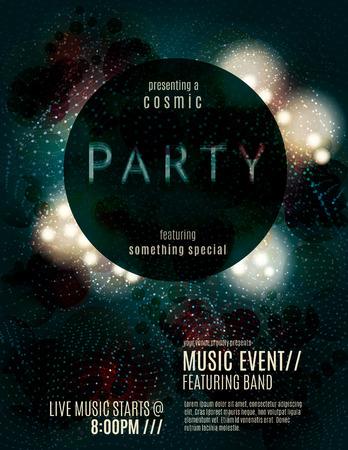 Donkere eclips partij uitnodiging poster of flyer sjabloon ontwerp met gloeiende glitter effecten Stockfoto - 37109033