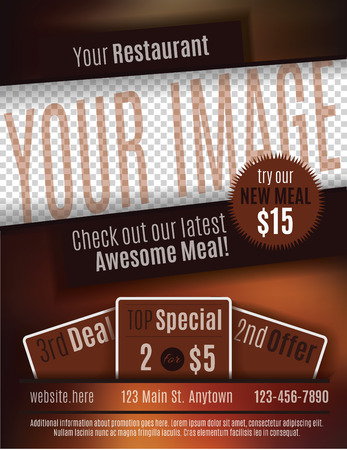 postcard background: Vector flyer template design for Restaurant Coupon with space for your custom image