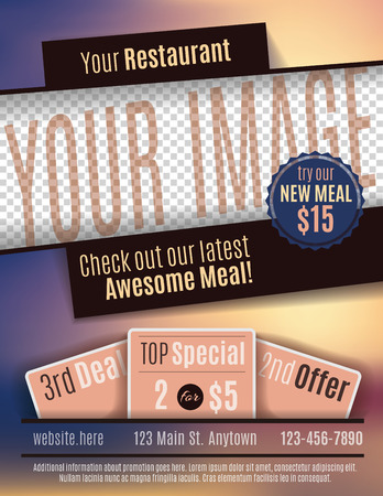 Vector Flyer Template Design For Restaurant Coupon With Space For Your  Custom Image Vector  Coupon Flyer Template