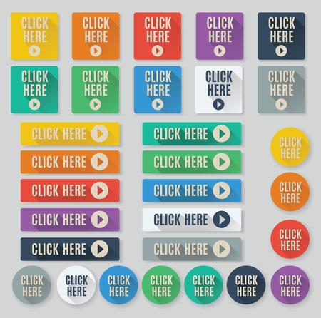 klik: Set van platte web knoppen met oproep tot actie tekst. Klik hier knoppen voorzien populaire kleurenpalet voor platte UI ontwerpen en lange slagschaduwen. Stock Illustratie