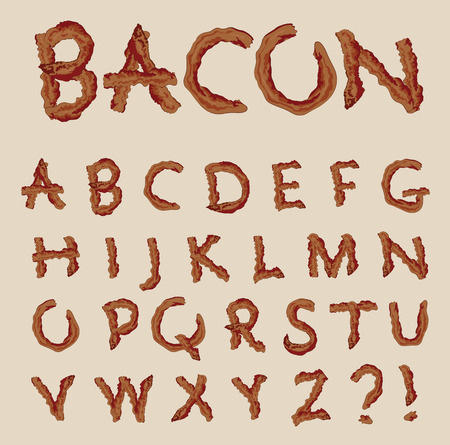 Vector alphabet in the shape of bacon letters