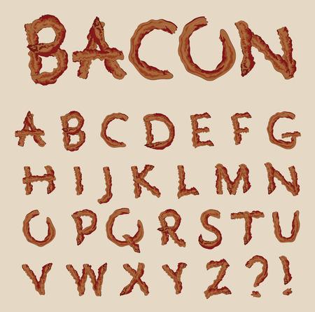 Vector alfabeto en la forma de las letras de tocino