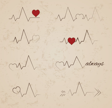heart monitor: Collection of vector heartbeat tattoo designs
