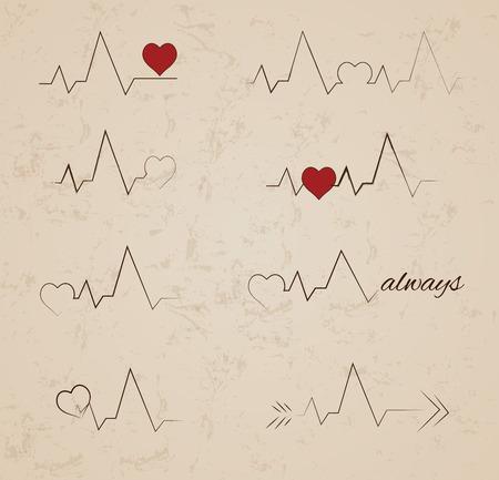 Verzameling van vector hartslag tattoo designs