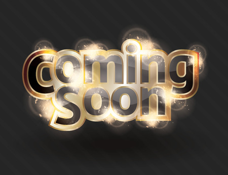 Shining gold text effect for a vector coming soon sign