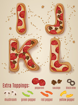 Vector Pizza alphabet.  Hand drawn letters made to look like pizza letters
