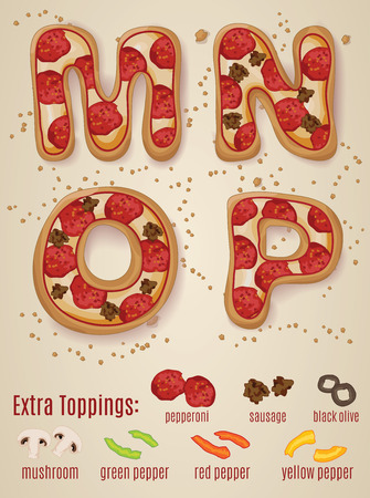 crumb: Vector Pizza alphabet.  Hand drawn letters made to look like pizza letters