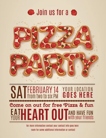 pepperoni pizza: vector pizza party flyer invitation template design