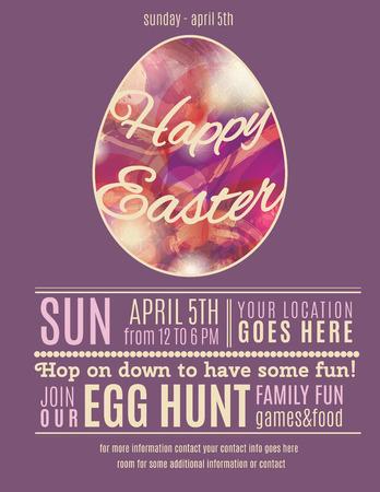 Easter Egg Hunt volantino o poster modello viola con astratto uovo illustrazione Archivio Fotografico - 37226413