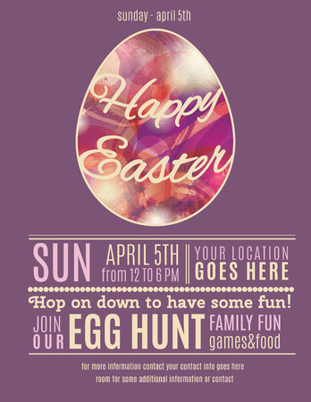 Purple Easter Egg Hunt flyer or poster template with abstract egg illustration Vectores