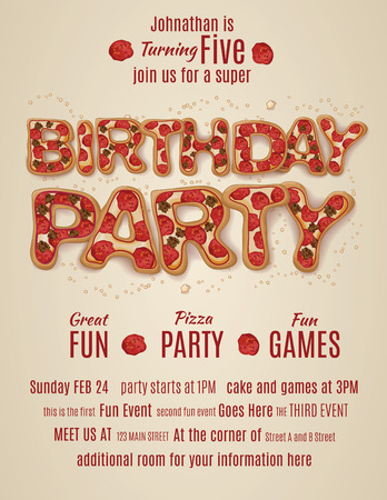 pepperoni pizza: vector pizza birthday party flyer invitation template design